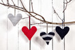 Valentines Day Hearts on White Wooden Background
