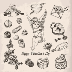 Vector set  of hand drawn vintage valentine's day collection