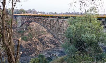 Bridge over Zambezi River connecting Zambia and Zimbabwe