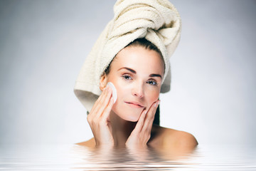 Skin care healthy face, spa woman during bath