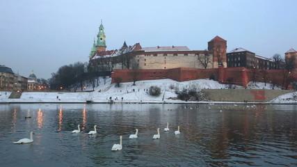 Wawel castle on a sunset in the winter, Krakow