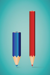 Vector Illustration - Two Vertical Pencils