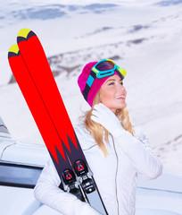 Enjoying ski sport