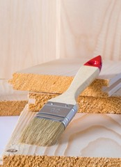 A new clean paint brush on wood with copy space background