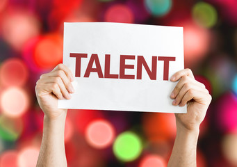Talent card with colorful background with defocused lights