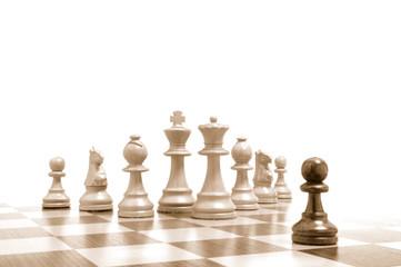 Einer gegen alle - Alle gegen einen - Schachfiguren auf Brett 4