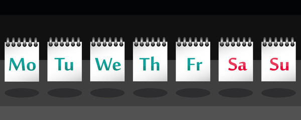 7 days of the week on note in vector