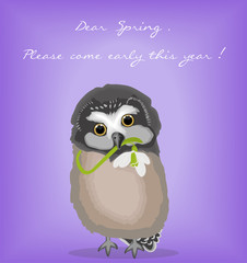 Card with baby owl holding a snowdrop and a letter to spring