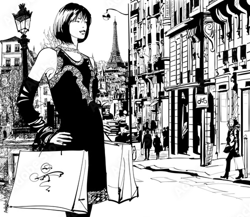 Women shopping in Paris - 76172334