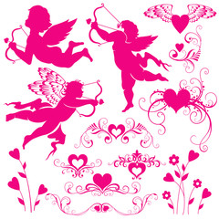 Set of silhouettes for Valentine's Day