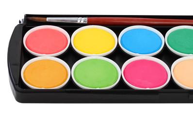 multicolor children paints with different paintbrushes
