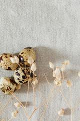 quail eggs on linen