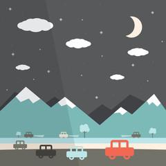 Night Landscape Flat Design Illustration
