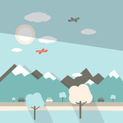 Landscape Flat Design Illustration