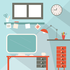 Office Flat Design Vector Illustration