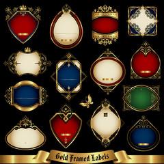 Vector set of golden-framed labels