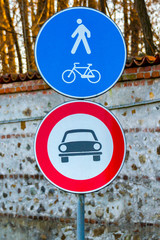 European road signal for biker pedestrian car blue red white