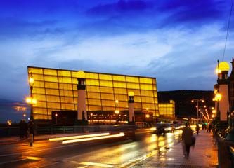 View of Sant Sebastian.   Kursaal  Congress Centre in evening