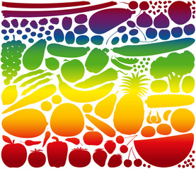Fruit Vegetables Rainbow Gradient Colors