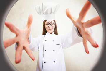 Funny portrait of a female chef