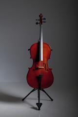 Cello im Studio auf Ständer stehend