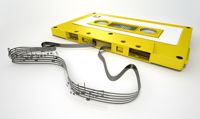 Cassette Tape And Musical Notes Concept