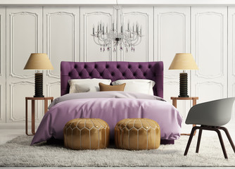 Contemporary elegant luxury purple bedroom