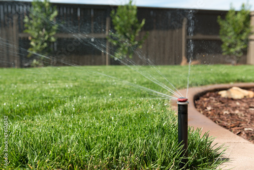 Lawn Sprinkler Spraying Water on Grass - 76176342