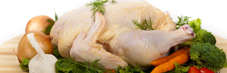Whole Raw chicken. Selective focus.