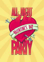 All night Valentine party design with burning heart.