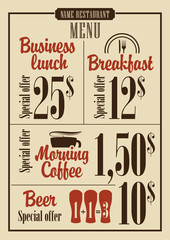 menu for the restaurant with prices for business lunches