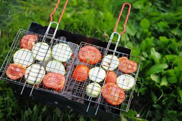 Grilling vegetables on pans