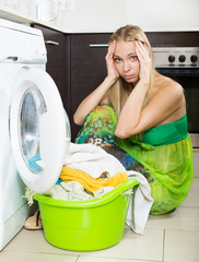 blonde girl and washing machine