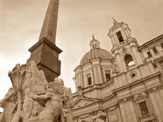 Sant'Agnese and Fountain, Rome - monochrome