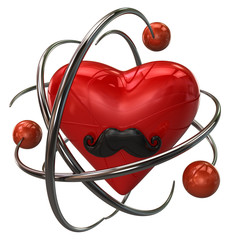 Red heart with mustaches and orange atoms
