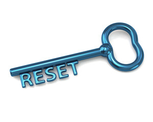 Blue key with word reset