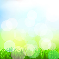 Background with grass and bokeh effect. Vector. 5