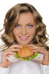 Young woman with hamburger from RUR