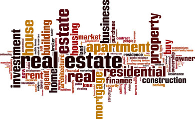 Real estate word cloud concept. Vector illustration