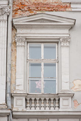old window with beautiful architecture modeling and columns