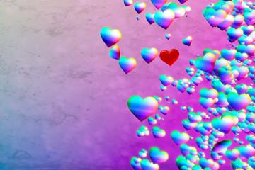 Rainbow Hearts. Iridescent colors