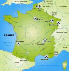 Fußballkarte von Frankreich