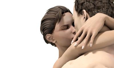 Coppia uomo e donna che si baciano