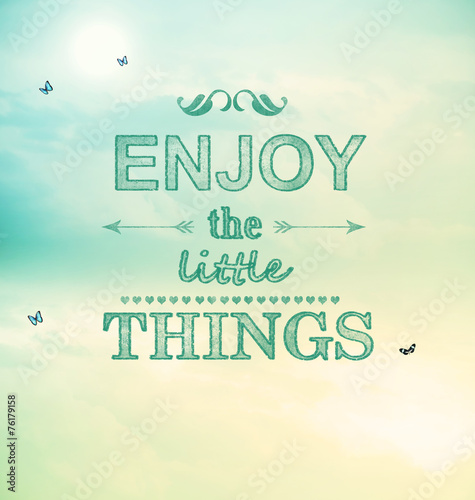 Enjoy the little things text with small butterflies Poster