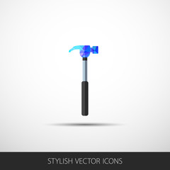Vector hammer in a flat style with shadow.