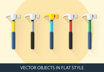 Set of vector hammer in a flat style with shadow.
