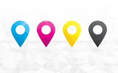 cmyk colored pins to determine the position on the map in the ba