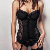 sexy girl with big breasts in black corset lingerie