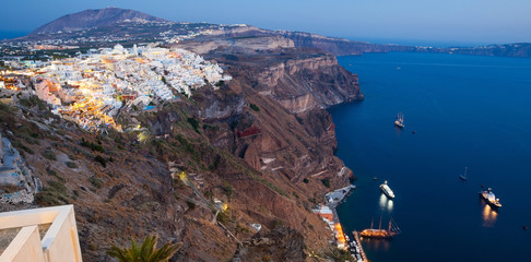View of Fira at sunset on Santorini island, Greece.