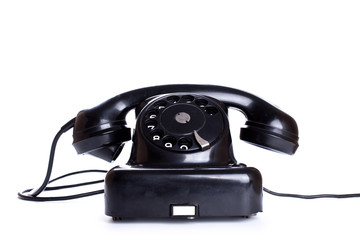 Black, old or classic telephone, isolated on a white background